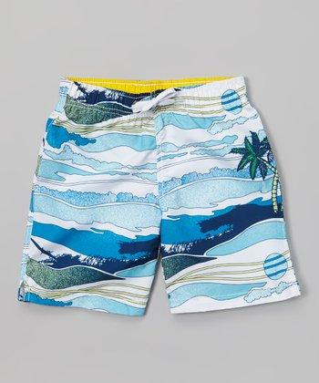 Sand Castle Navy & White Crashing Waves Swim Trunks - Toddler & Boys