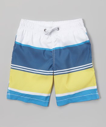 Sand Castle Yellow & White Color Block Swim Trunks - Toddler & Boys