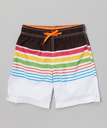 Sand Castle White & Black Stripe Swim Trunks - Boys