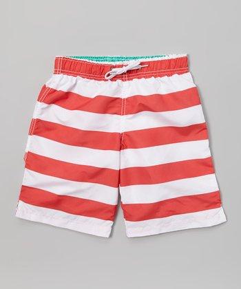 Sand Castle Red & White Stripe Swim Trunks - Boys