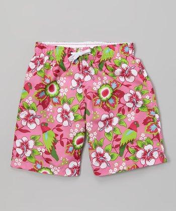 Sand Castle Pink & Green Hibiscus Swim Trunks - Boys