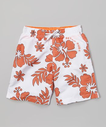 Sand Castle Orange & White Hibiscus Swim Trunks - Boys