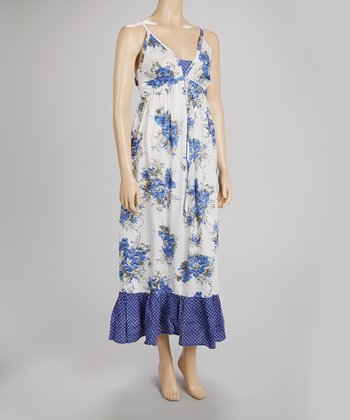 Blue & White Polka Dot Floral Maxi Dress