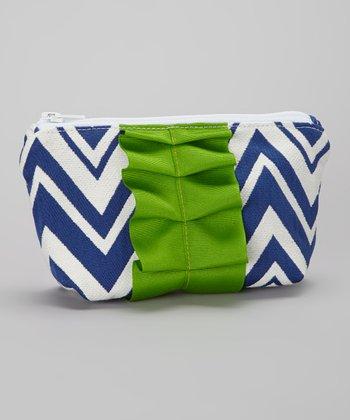 Caught Ya Lookin' Green & Royal Blue Zigzag Cosmetic Purse