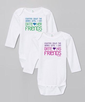 Biased, Baby White 'Friends' Bodysuit Set