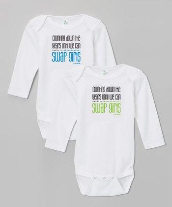 Biased, Baby White 'Swap Girls' Bodysuit Set
