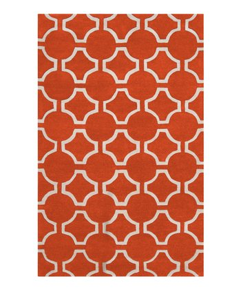 Poppy Red & White Lattice Zuna Wool Rug
