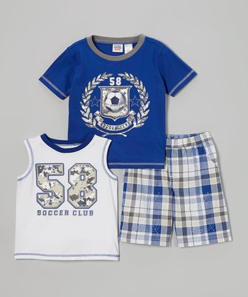 Blue & White Soccer Club Tee Set - Infant, Toddler & Boys