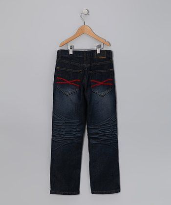 Light Wash Red Embroidered Jeans - Toddler & Boys