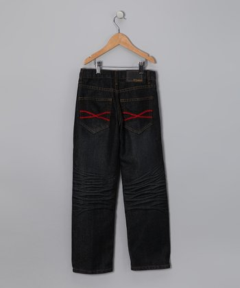 Raw Black Red Embroidered Jeans - Toddler & Boys