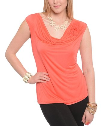 Coral Cowl Neck Cap-Sleeve Top - Plus