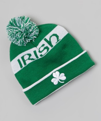 Green Shamrock 'Irish Hat' Pom-Pom Hat