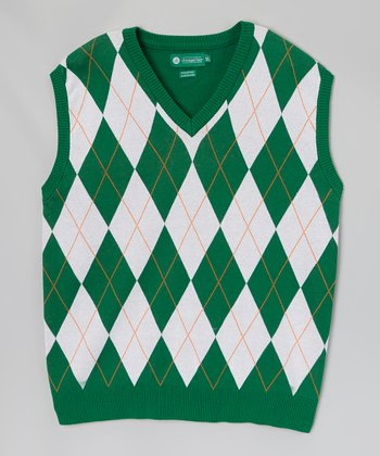 Green & White Argyle Sweater Vest