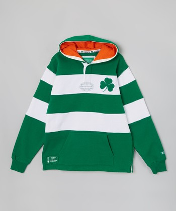 Green & White Stripe 'Irish' Rugby Hoodie