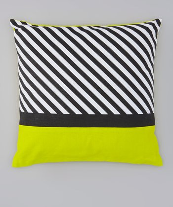 Green Stripe Throw Pillow