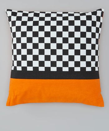 Orange Checkerboard Throw Pillow