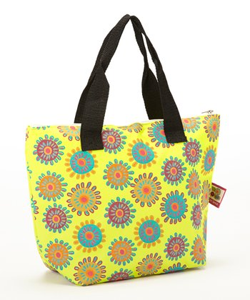 Yellow Flower Insulated Lunch Tote