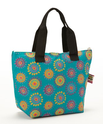 Blue Flower Insulated Lunch Tote