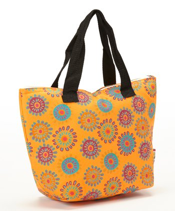 Orange Flower Insulated Lunch Tote