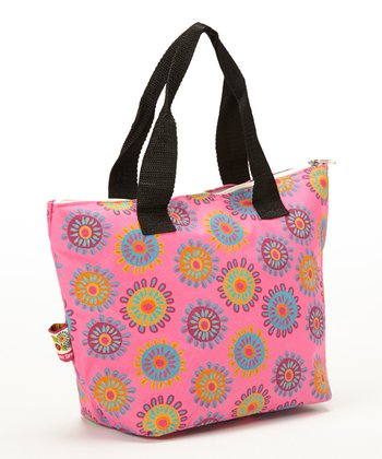 Pink Flower Insulated Lunch Tote