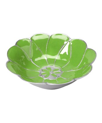 Green Enamel Flower Bowl