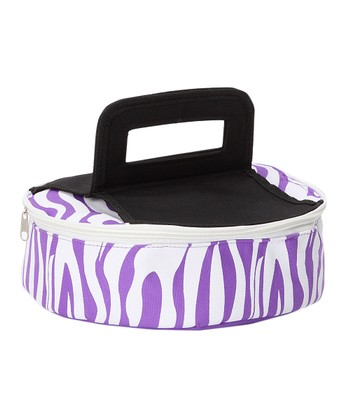 Purple Zebra Round Insulated Pie Carrier