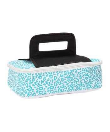 Blue Leopard Square Insulated Food Carrier