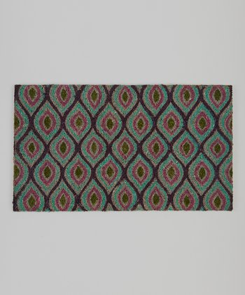 Teal, Purple & Green Ikat Rug