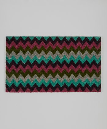 Teal, Pink & Purple Zigzag Rug