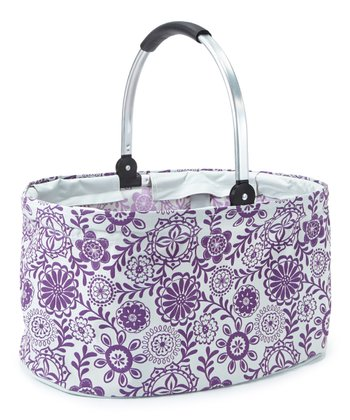 White & Purple Folding Market Basket