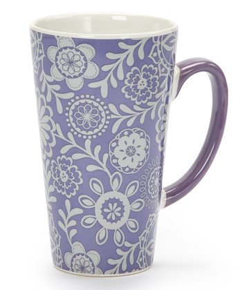 Purple Floral 17-Oz. Latte Mug