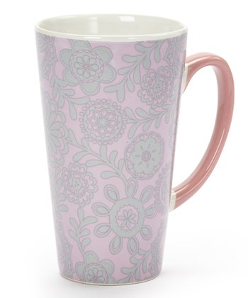 Pink & Green Floral 17-Oz. Latte Mug