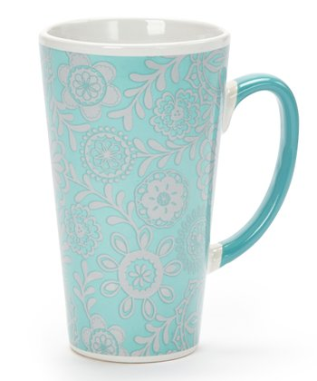 Teal Floral 17-Oz. Latte Mug