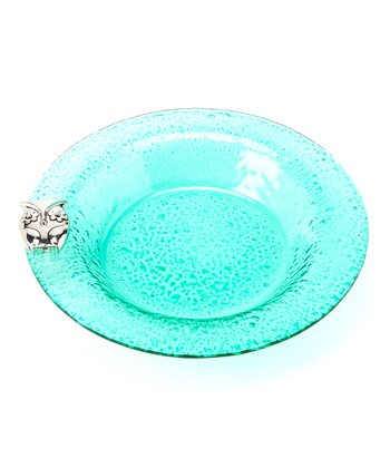 Teal Bubble Glass Bowl