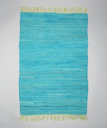 Blue Solid Tropical Chindi Rug