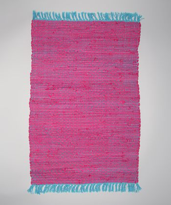 Pink Solid Tropical Chindi Rug