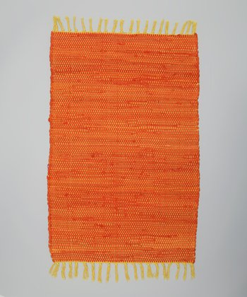 Orange Solid Tropical Chindi Rug