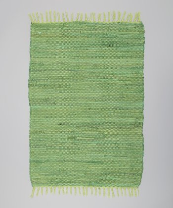 Green Solid Tropical Chindi Rug