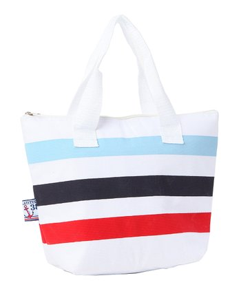 Blue & White Nautical Stripe Insulated Lunch Tote