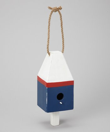 White & Blue Nautical Buoy Birdhouse