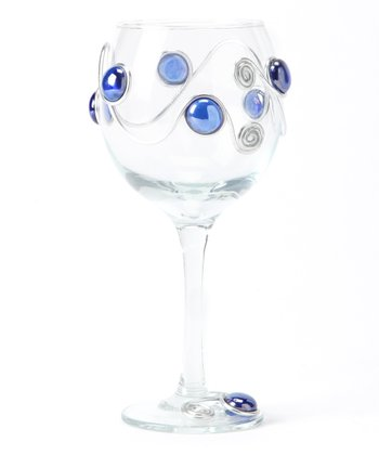 Blue Scroll Beaded Wineglass