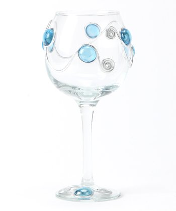 Sky Scroll Beaded Wineglass