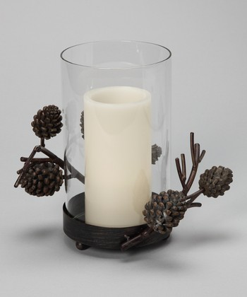 Country Pine Hurricane Candleholder