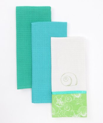 Green Shell Dish Towel Set