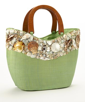 Green Seashell Studded Large Tote