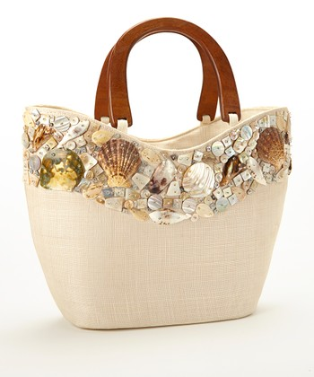Beige Seashell Studded Large Tote