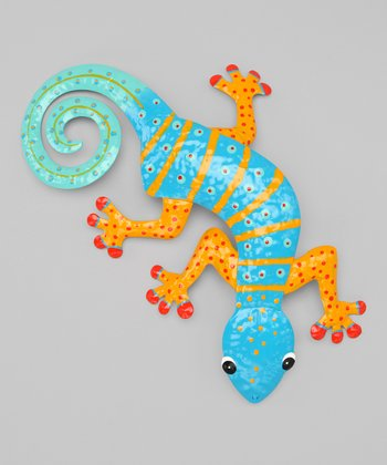 Blue & Orange Gecko Wall Art