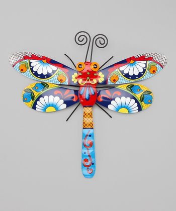 Blue & Red Talavera Dragonfly Wall Art
