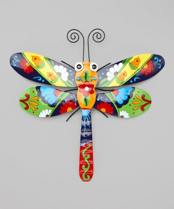 Green & Navy Blue Talavera Dragonfly Wall Art