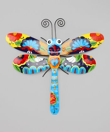 Yellow & Blue Talavera Dragonfly Wall Art